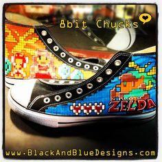 8bit Zelda shoes by Black & Blue Designs for Sale    #zelda #legendofzelda #8bit #gamer #fairy #converse #shoes #sneakers #chucks #christmasgift #nintendo #ooak #blackandbluedesigns