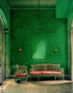 Specialist paint finishes bring depth to colour, green is healing, nature, soothing.  This room makes me think of an enchanted castle with vines growing over the outside and about to make their way in!  Add a pop of coral and you have Cinderella glam.