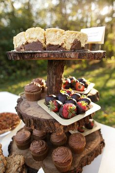 DIY tiered cake stands made from logs