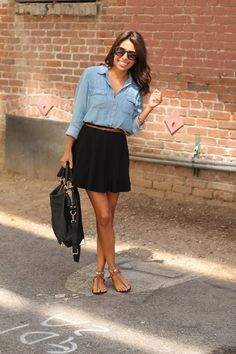 chambray+and+skirt+outfit.jpg 1,066×1,600 pixels