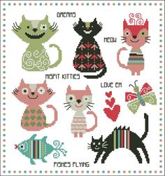 Whoever said misfits have no fun? These colorful kitty cats are rocking it up with curls, hearts, stripes and more! Stitch them today. kitty cats, pattern, misfit color, color kitti, kitti cat, chart, misfit kitti, cross stitches, cat color