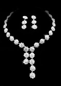 Elegant Clear Crystals Wedding Bridal Jewelry Set-(Including Necklace,earring) FP4168