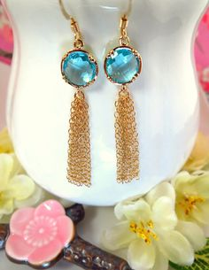 Ice blue glass gold tassle earrings blue crystal gold by KBlossoms, $45.00