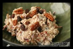 Chicken Salad Recipe #GFCF Gluten Free and dairy free chicken salad with the added nutritional punch of fresh grated carrot, the sweetness of raisins and the healthy fats of pecans.