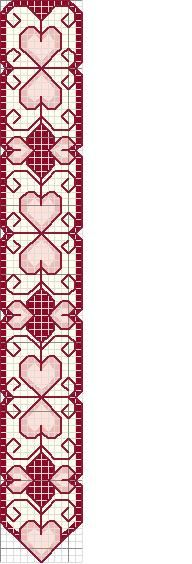 bookmark; free heart cross stitch bookmark pattern; easy to stitch.