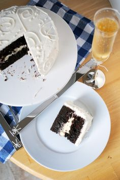 Chocolate Layer Cake with Bavarian Cream Filling