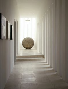 * minimal interior design, modern hallways, focal point, white marble, rhythm * by Jeff Green photography