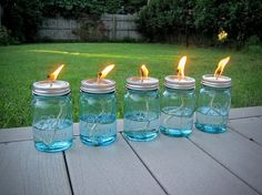 Recycle Reuse Renew: How To Make Your Own Mason Jar Oil Candle ~ Lots Of Instructions And Different Ideas For Mason Jars ~ From Mother Earth Projects ball jars, oil lamps, mosquito, mason jar candles, backyard, mother earth, mason jars, porch, outdoor weddings