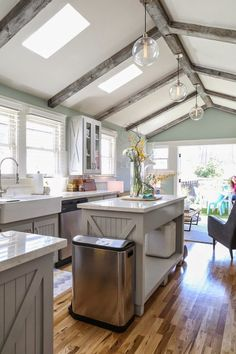 """House of Turquoise: Jeff Eyser Kitchen and family room - Jeff Lewis Color """"Aloe"""" #JLC513"""