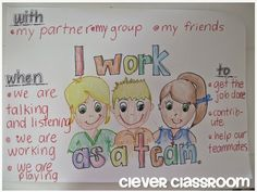I work as a team anchor chart for social skills: