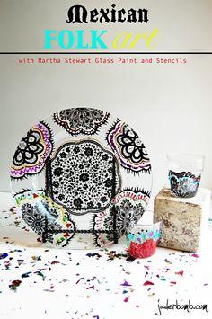 Mexican Folk Art with Martha Stewart Crafts Glass Paint and Stencils. #marthastewart #stencils #glass #paint