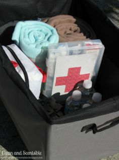 make a car first-aid/emergency kit and stash.