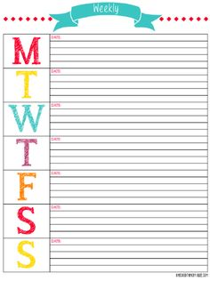 Cute Weekly Schedule Template Schedule, meal planning,