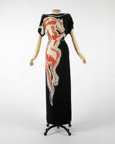 "Gilbert Adrian 1940s vintage dress silk ""Roan Stallion"""