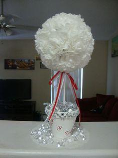 Topiary Tree Wedding Centerpiece (Coffee Filter Flower) :  wedding coffee filter flowers diy paper flower reception red silver topiary wedding centerpiece white DSC03800