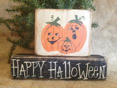 Primitive Pumpkins Jack O Lanterns Happy Halloween Shelf Sitter Wood Blocks Set #PrimitiveJack_O-Lanterns