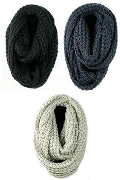 Love the chunky knit infinity knit scarves.