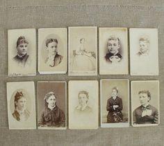 10 Antique Carte de Visit Photos Ladies with Hairdos