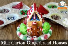Easy Milk Carton Gingerbread Houses