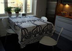 Marimekko Puistotie fabric in a Finnish kitchen.