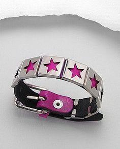 Fuschia Pink Leather Silver Tone Cut out Stars Buckle Closure Bracelet