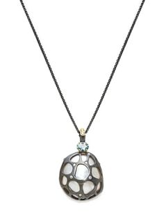 Pendant necklace in silver and 18k gold with aquamarine, freshwater baroque pearl, and 0.08 ct. t.w. diamonds, $2,860; Jane Bohan
