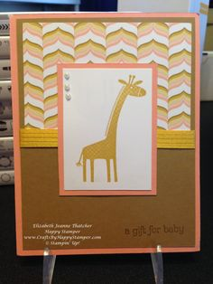 baby card created with the Stampin Up zoo babies stamp set giraffe
