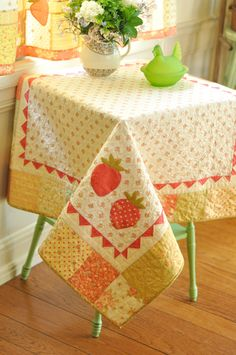 "Fig tree quilts I found it!! Its called-Strawberry Cafe the pattern includes Cafe Curtains Each Panel 29"" x 38"" Breakfast Table Topper 41"" x 41"" would be a great project for learning free form quilting"