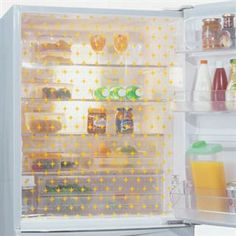 Curtains hung from each shelf in fridge?    Wow guilt free standing there with the door open figuring out what you want, lol!