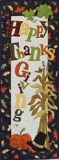 """Happy Thanksgiving Wallhanging/Door Banner Pattern by Patchabilities at KayeWood.com. Each finished mini quilt measures 12 x 32"""". Change out the hanger each month ith a 12"""" wide hanger. Hang them easily on a door with a set of """"over the door holders"""" and without putting nails in your door (husband approved). http://www.kayewood.com/item/Happy_Thanksgiving_Wallhanging_Door_Banner_Pattern/3477 $9.00"""