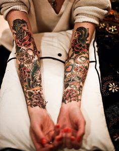 rose, vintage tattoos, arm tattoos, color, sleeve tattoos, old school, a tattoo, tattoo sleeves, ink