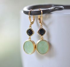 Mint Oval and Black Diamond Dangle Bridesmaid Earrings.