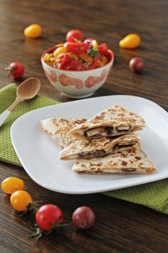 Mushroom Quesadillas with Tomato and Corn Salsa | Cookie Monster Cooking quesadillas, cookie monster, mushroom quesadilla, cooki monster, corn salsa, monster cook, cooking, tomatoes, mushrooms