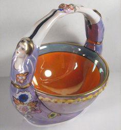 Old Art Deco Noritake China Boudior Item Lady Pair Luster But | eBay