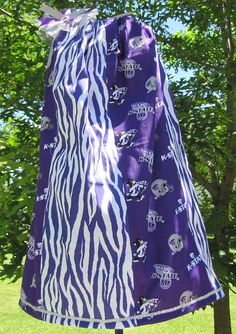 K State Kansas State University Purple Silver Animal Print Wildcat Pillowcase Dress Pillow Case Dress