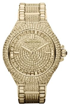 Michael Kors 'Camille' Crystal Encrusted Bracelet Watch..totally over the top, but I LOVE this