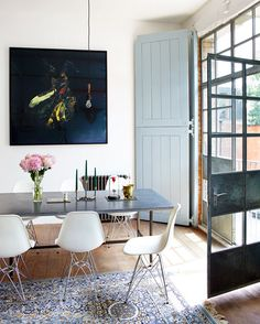 What do you think to this eclectic dining space? The DSR chairs fit into any setting! http://www.nest.co.uk/search/vitra-dsr-eames-plastic-side-chair Image via Desire to Inspire.