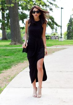 Black maxi dress with a high slit