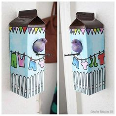 birdhous, houses, idea, craft, milk cartons, diy, birds, kid, bird hous