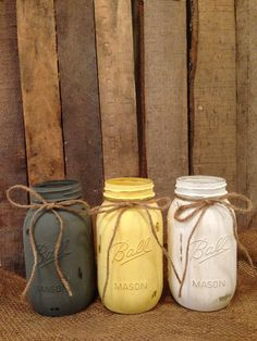 Rustic Painted Mason Jar Wedding Centerpiece, Gray and Yellow
