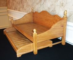 """Daybed with trundle stained for American girl doll or any 18"""" doll."""