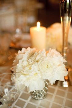 white centerpieces and mercury glass