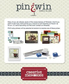 Creative Memories Pin & Win Contest starts at 10 a.m. CT on March 1, 2012    #scrapbooking