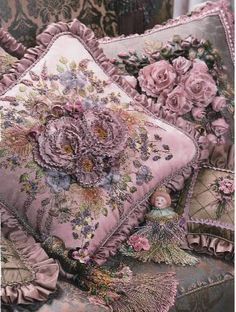 Embroidery. Its a beautiful pattern for a pillow but Id like an antique flower print for a tat