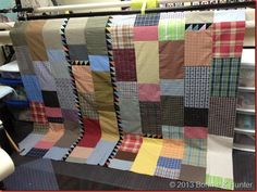 Quilt back from shirts.  by Quiltville's Bonnie K. Hunter