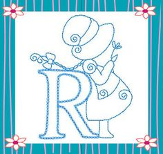 RWSunbonnetAlpha letra, kiwi, sun bonnet, sunbonnet sue, dibujo patchwork, abecedario, pergamano alphabet, machine embroidery designs, embroideri
