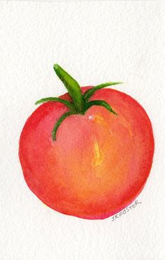 Original Tomato watercolor Painting Vegetable by SharonFosterArt, $8.50