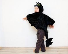 Toothless the Night Fury Costume Black Dragon by BeauMiracleForYou, $50.00 dragon costume kids, costum black, kid costumes, kids dragon costume, dragon parti, children costumes, black dragon, halloween costum, costume parties