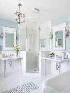 Bathroom ideas: great dual areas and I love the glass/tile walk-in shower!