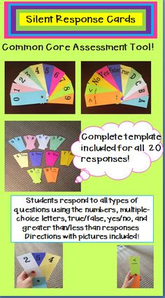 Silent Response Card are a fun, interactive way to get ALL students participating.  Great for a quick assessment and easy to use!